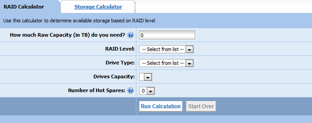 Storage raid calculator