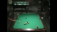 George Teyechea performs the two rail off the stack off the cue ball one pocket shot