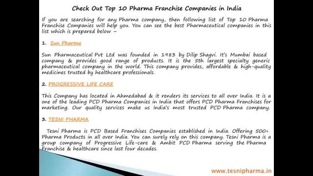 Top 10 Pharma Franchise-Companies in India