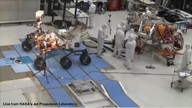 Mars Science Lab/Curiosity Rover does a turn during testing in the JPL clean room.