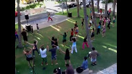 Zumba Mania at Waikiki Beach Walk live on 8/27/11 at 4:06 PM HST