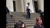 NYPD kennels a crowd and then make unlawful arrests: one photographer and a violent arrest on an unarmed protestor, Charlie Meyers.