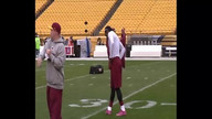 RGIII warms up before Steelers game.