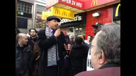 Rabbi Feinberg addresses the Fast Food Forward rally