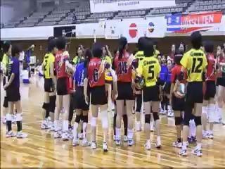 大会後のバレーボール教室(全日本実業団選手権)