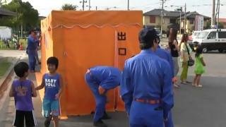 羽黒の夏祭り(18)起震車体験煙道体験